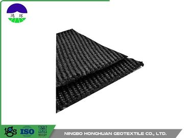 Chiny 50KN/M Warp Knitting Polyester Geogrid Grey for Asphalt Wall / Runway dystrybutor